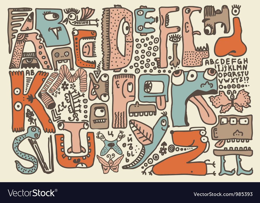 monster alphabet royalty free vector image vectorstock