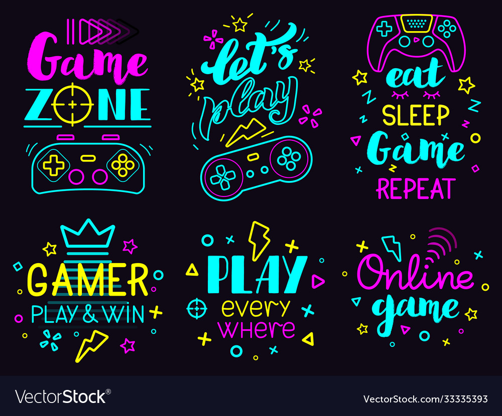 Neon video game phrases online game console