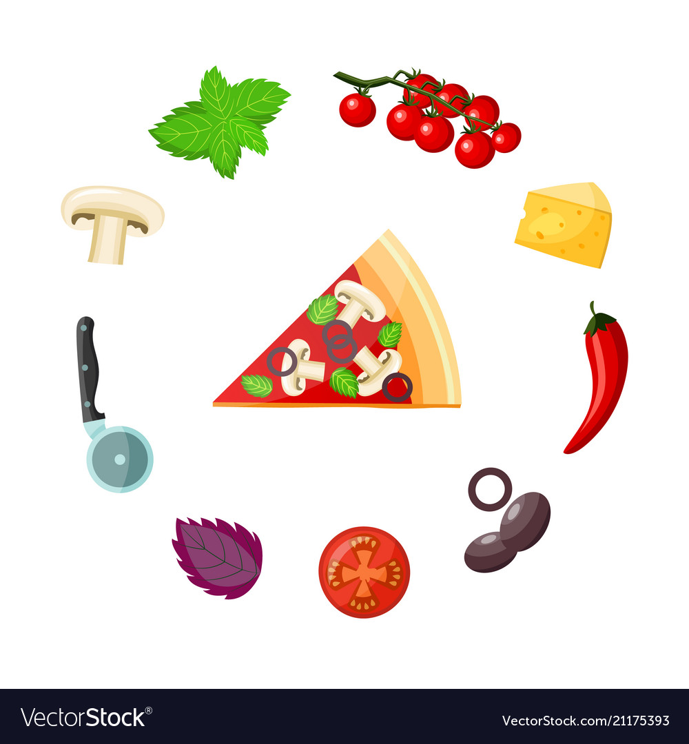 Pizza and ingredients set - colorful piece of