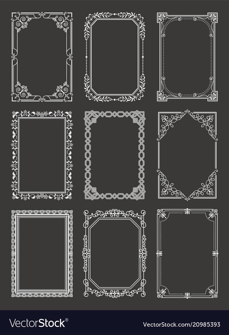 Retro style vintage frames set ornamental graphic