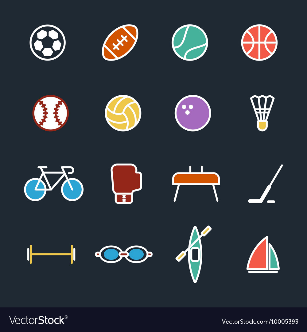 Set of sport icons flat design isolated