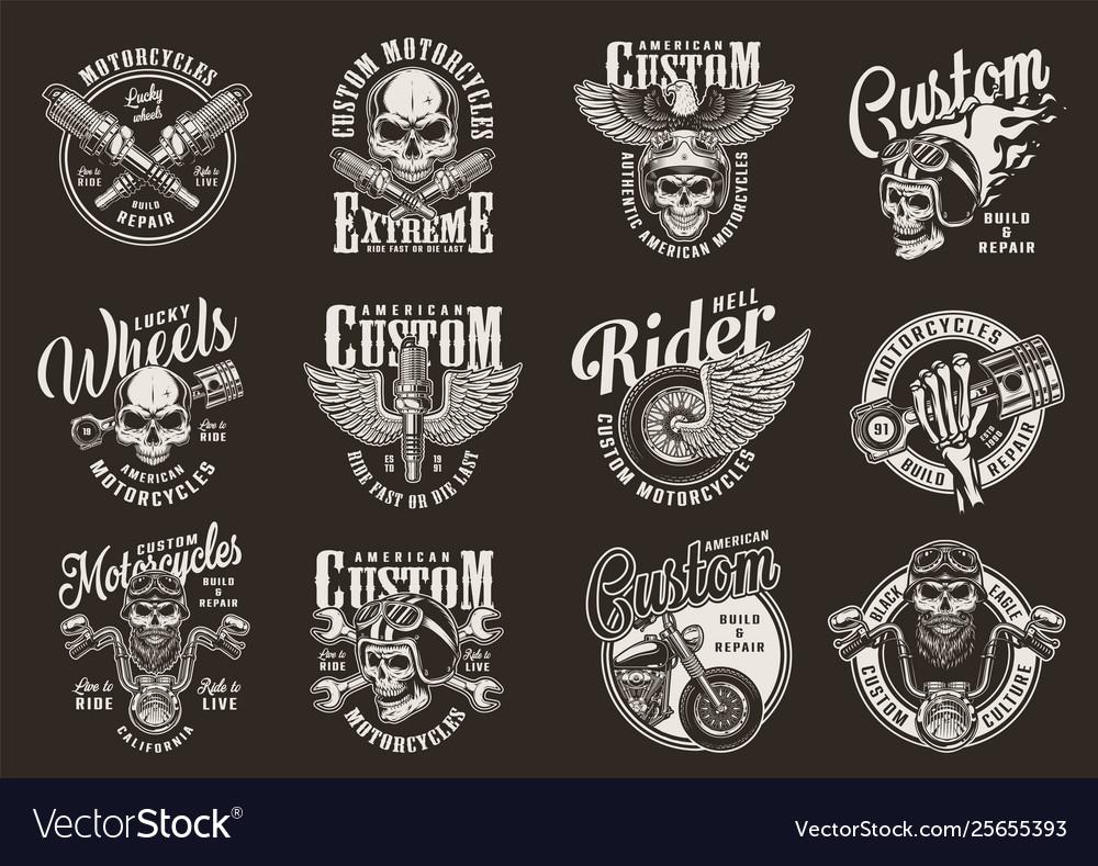 Vintage monochrome motorcycle prints