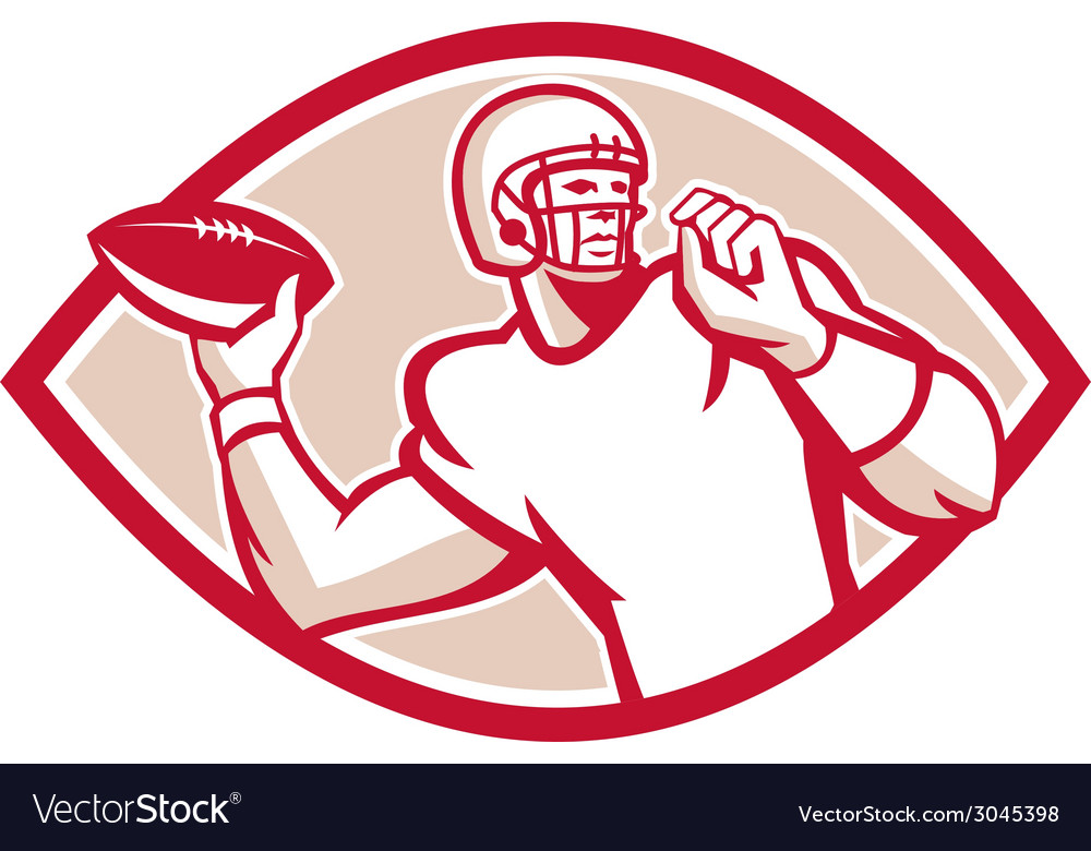 American Football QB Throwing Oval Retro vector image