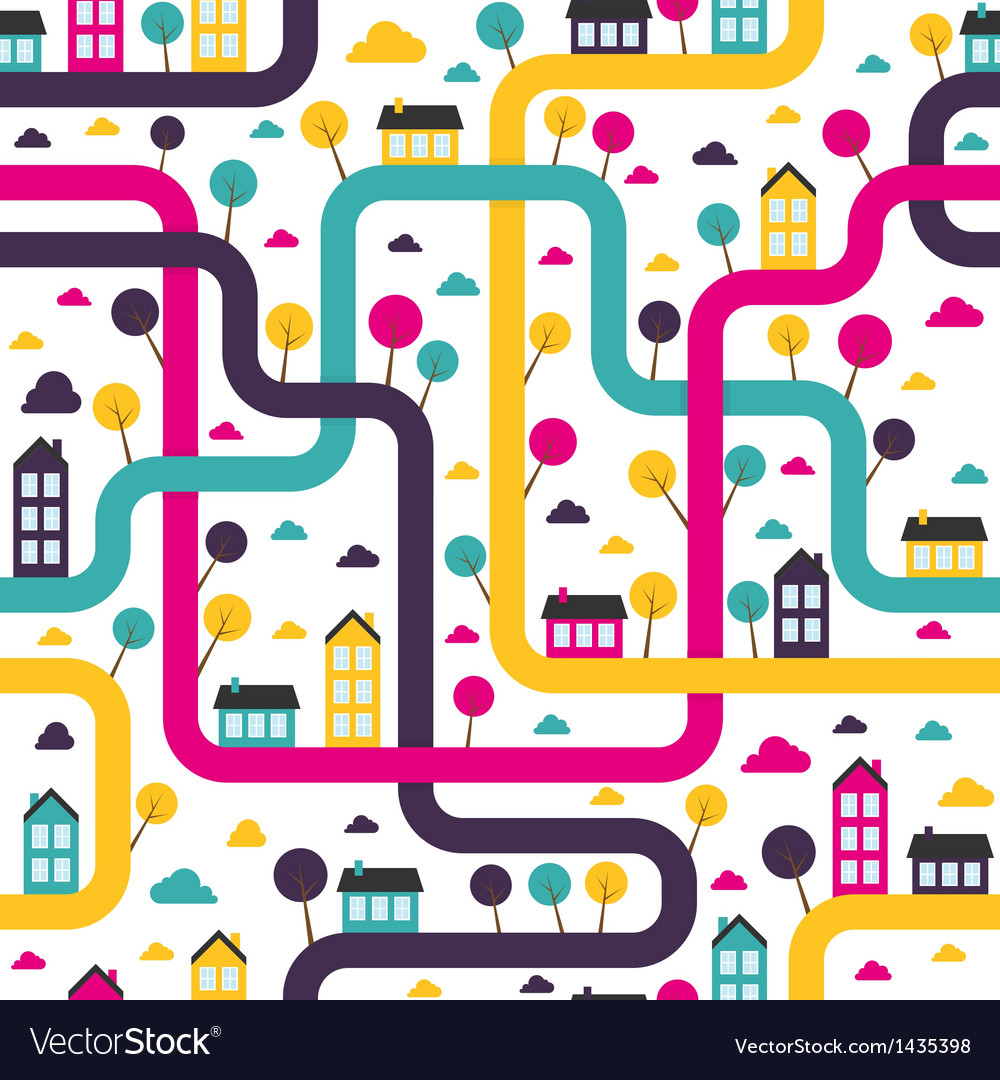 Background seamless pattern with abstract town