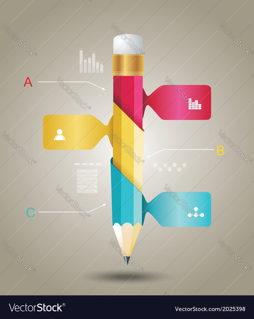 Business Design Template with Pencil ribbon