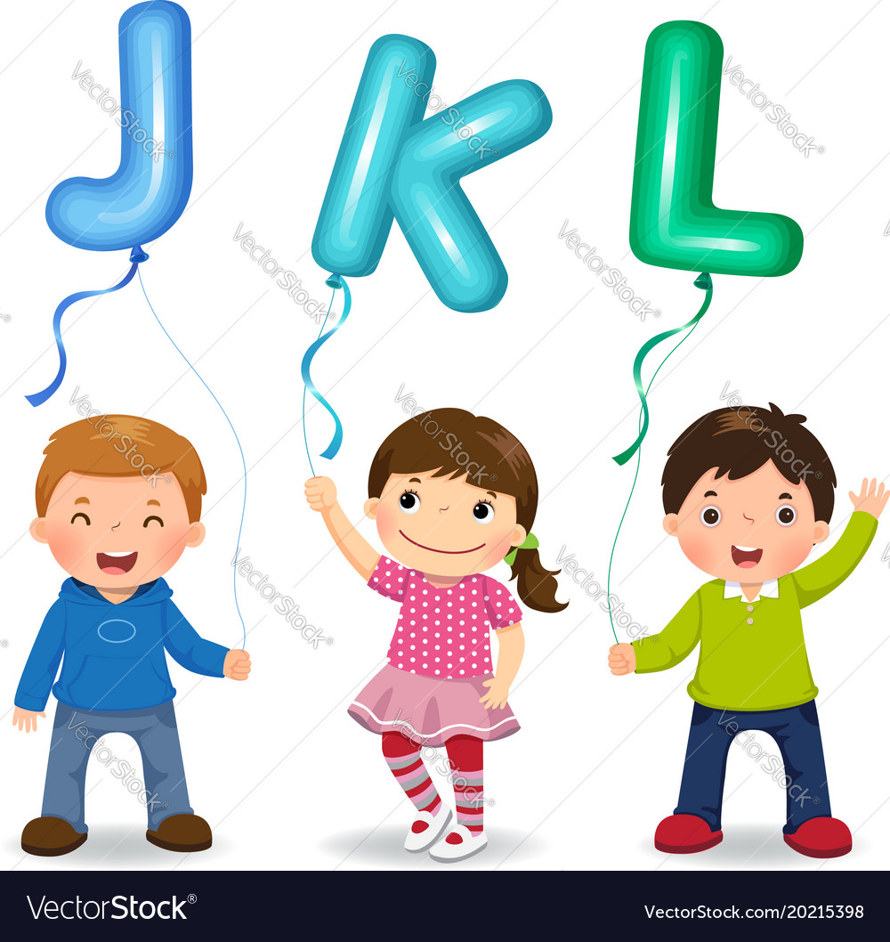 Cartoon kids holding letter jkl shaped balloons Vector Image