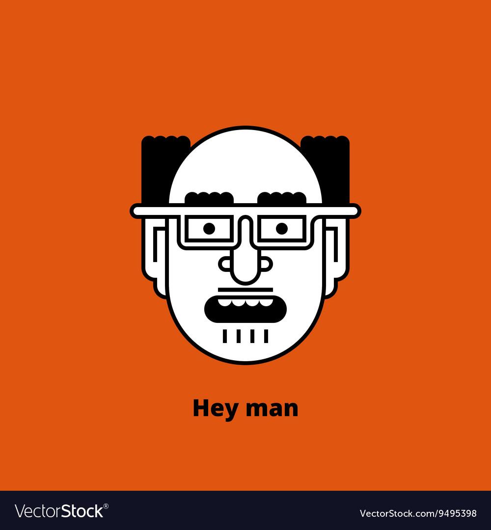 Character - mad bald man Thin lines vector image