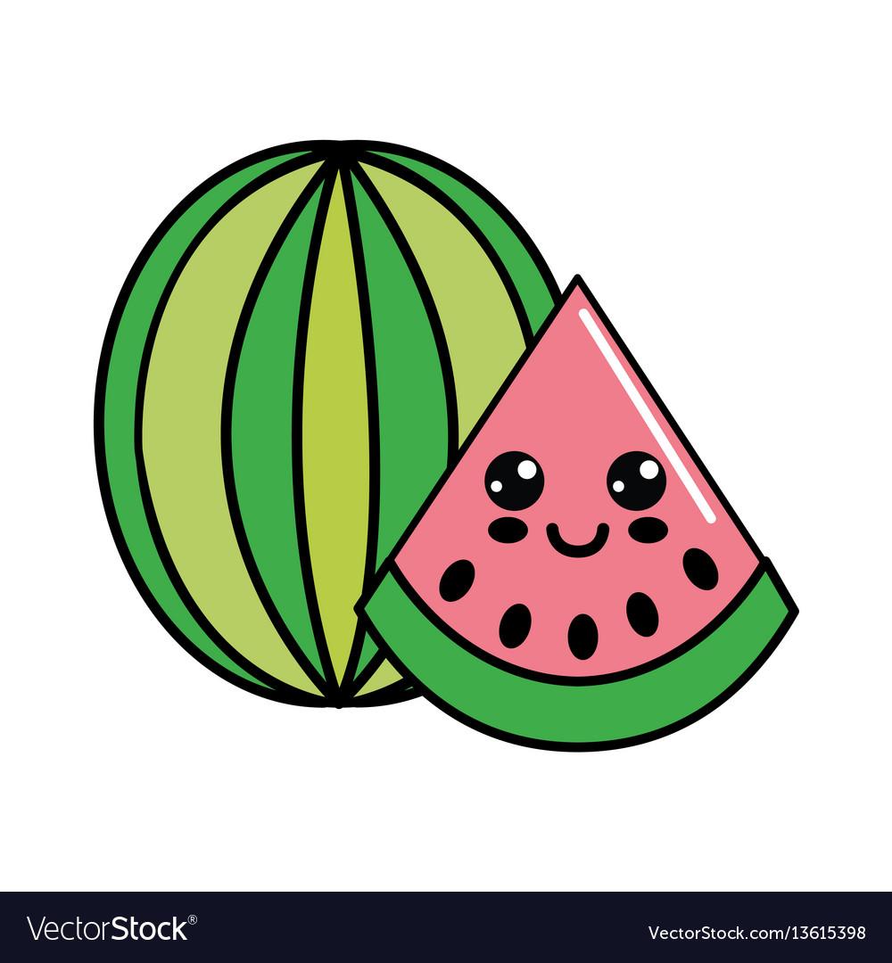 Color kawaii happy watermelon icon vector image