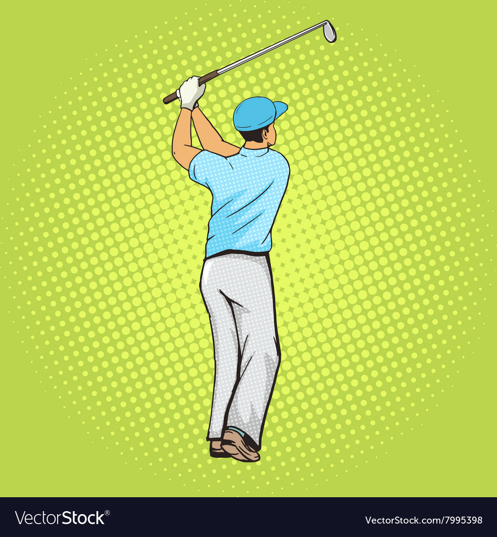Golf player with bat pop art style