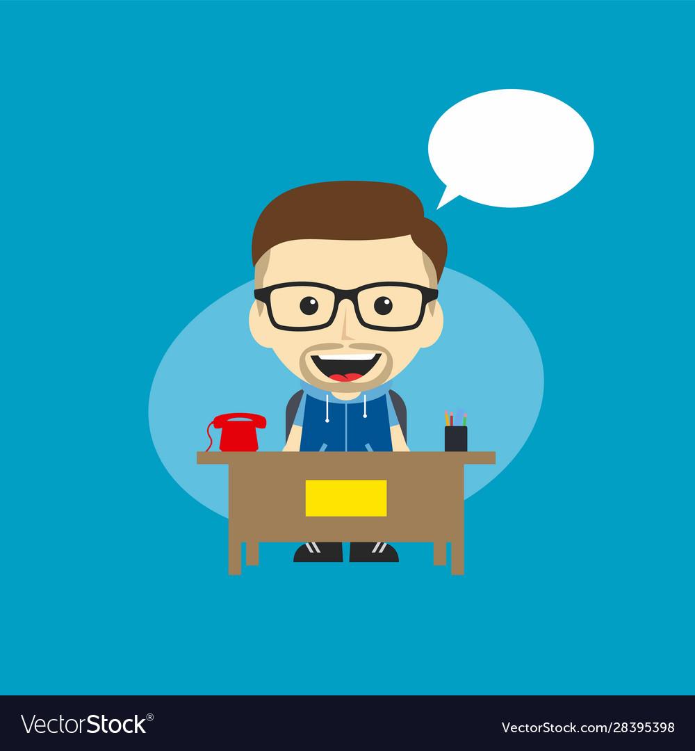 Happy Customer Service Receptionist Cartoon Vector Image