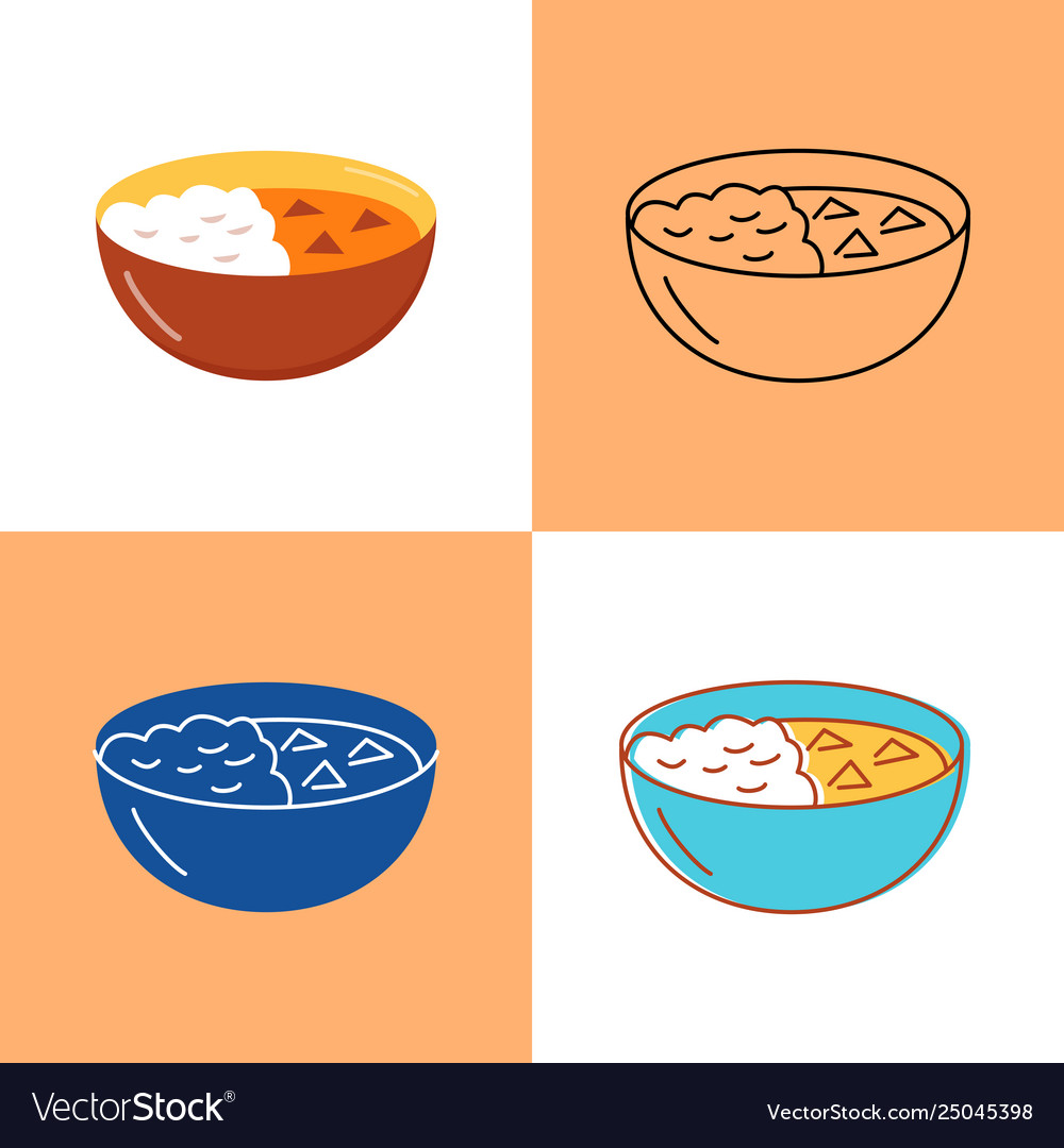 Indian curry food icon set in flat and line styles