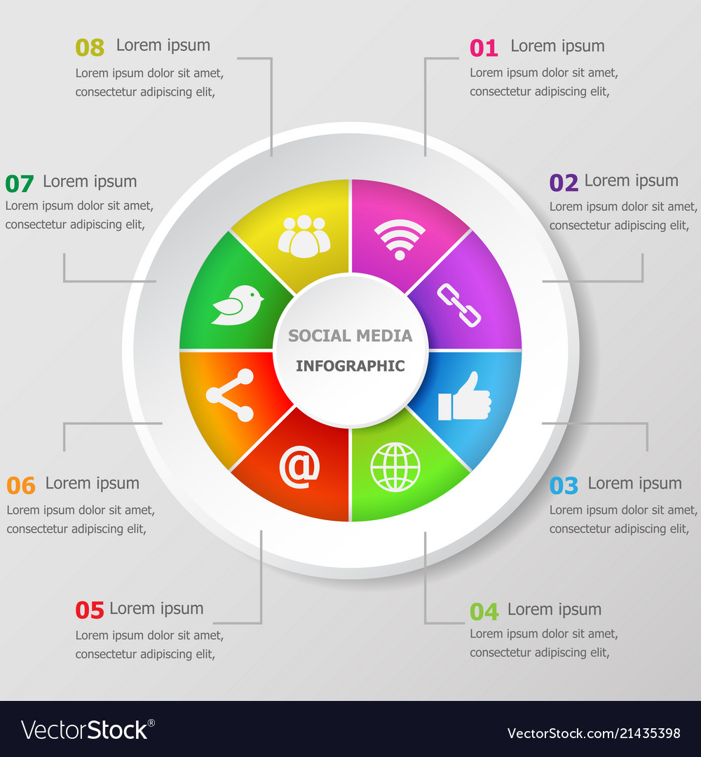 Infographic design template with social media