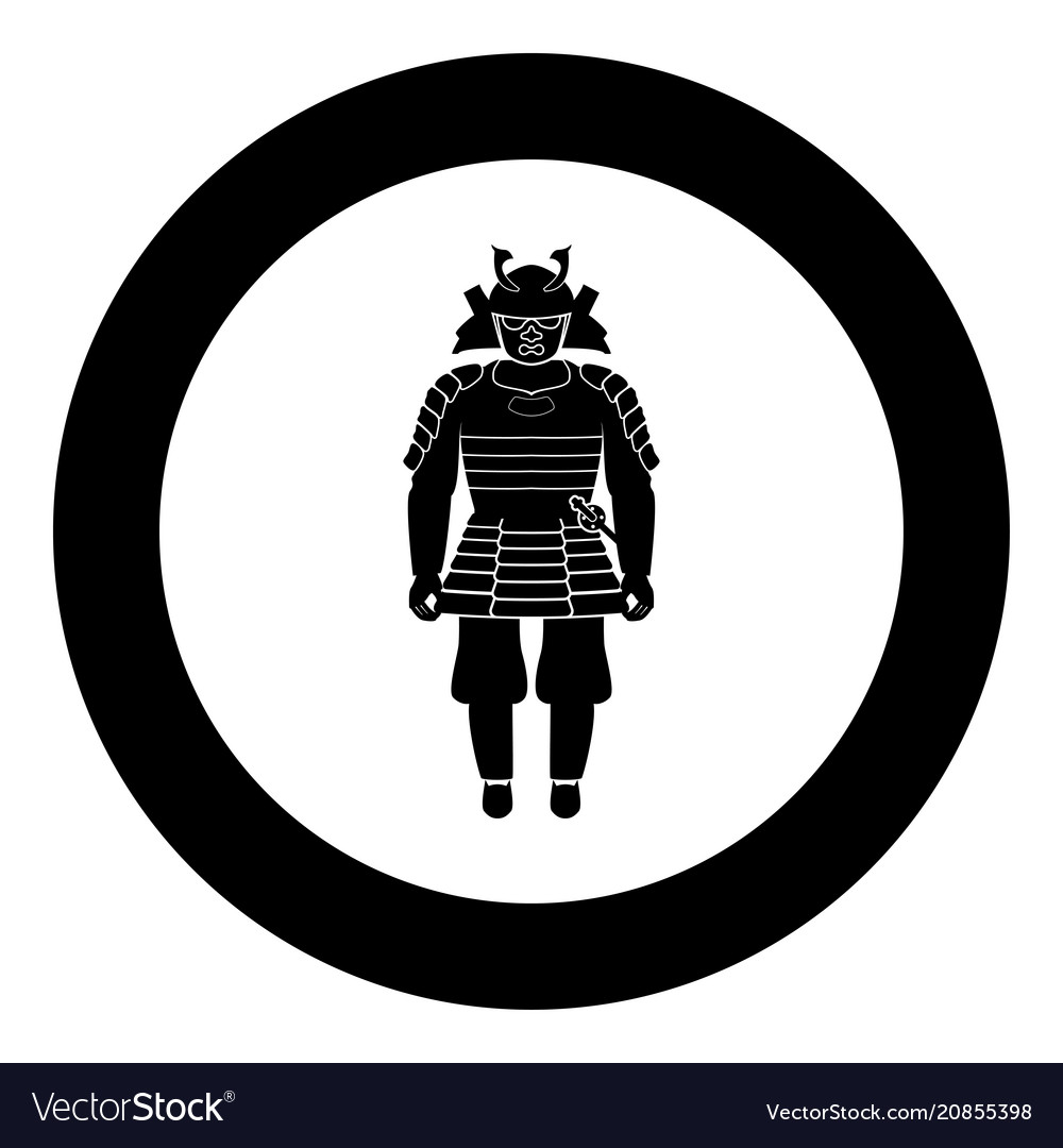 Samurai japan warrior icon in round black color
