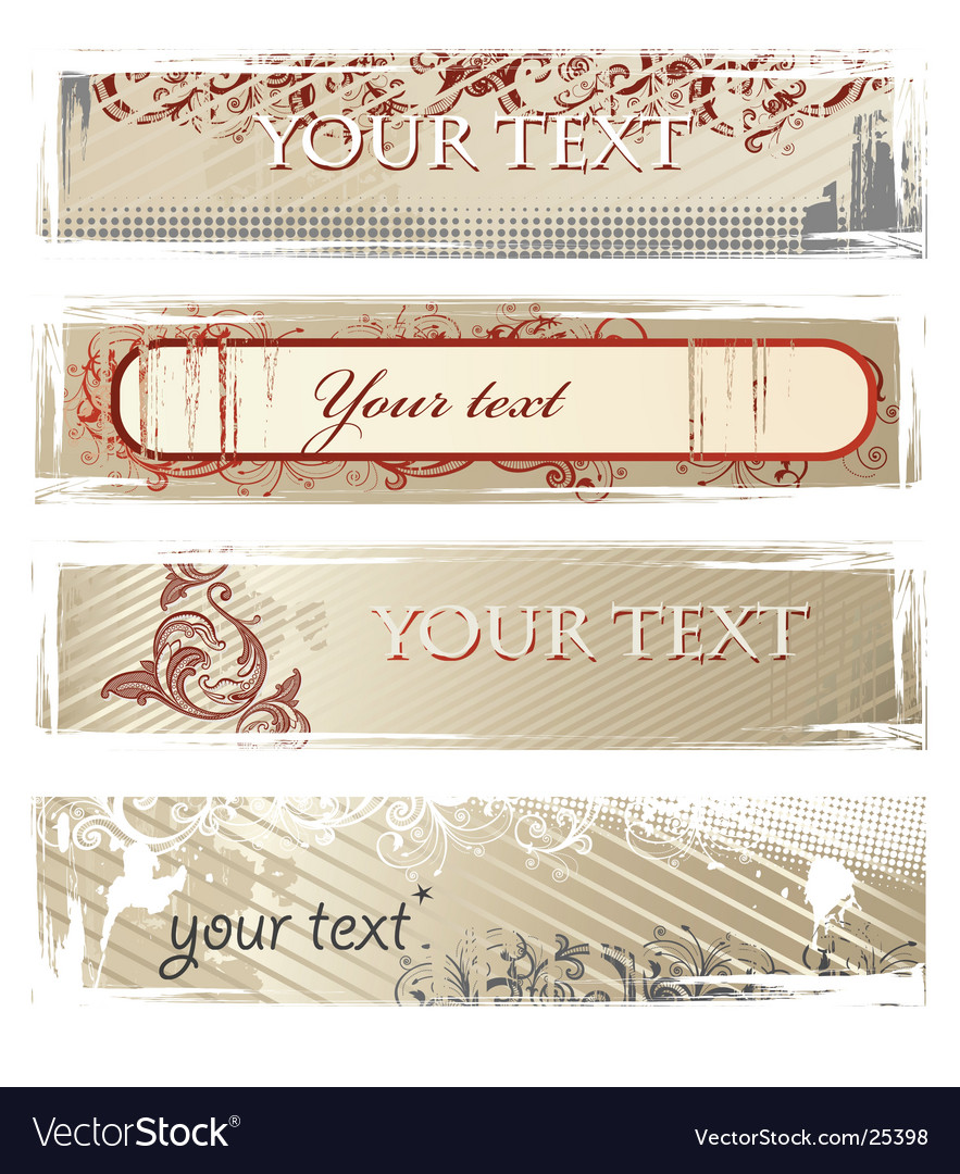 Set of beige grunge banners vector image