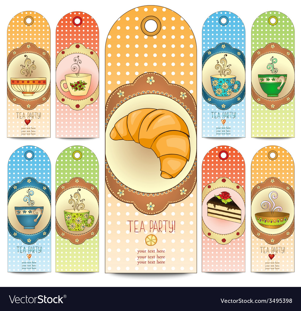 Set of tea and sweets doodle template invitations