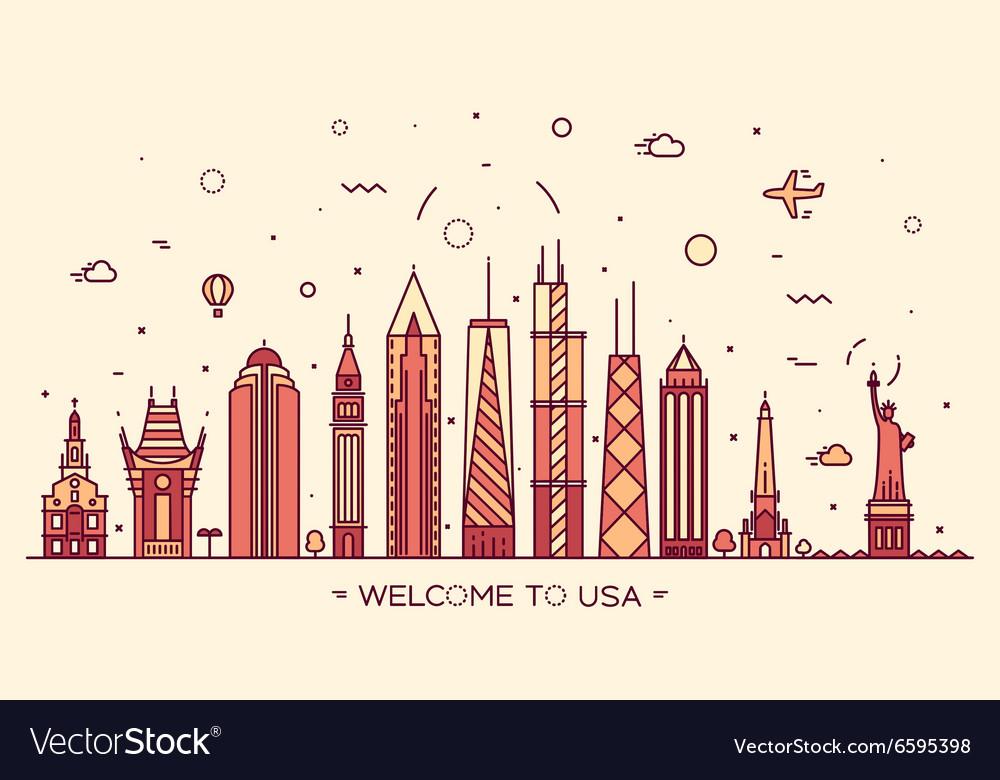 USA skyline silhouette linear style