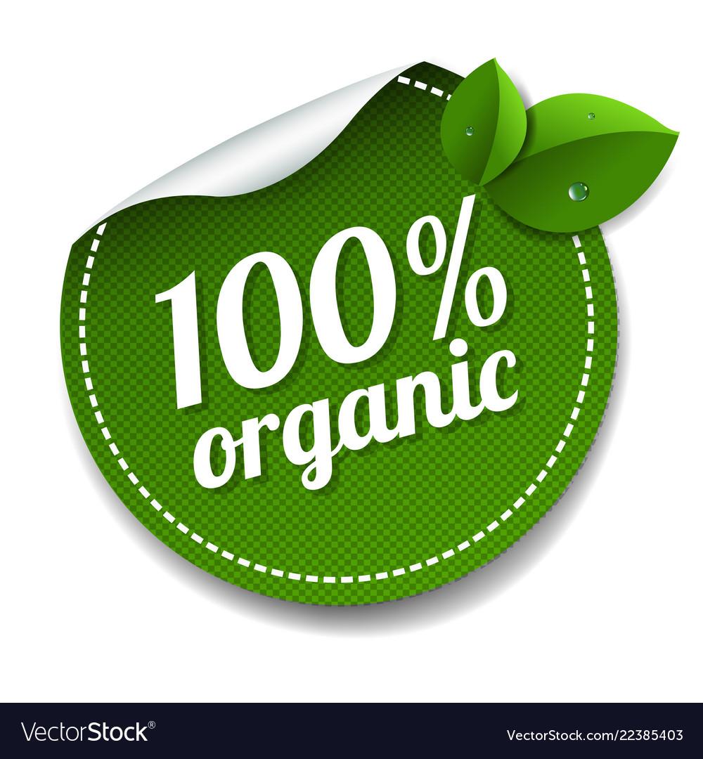 100 organic product label isolated white