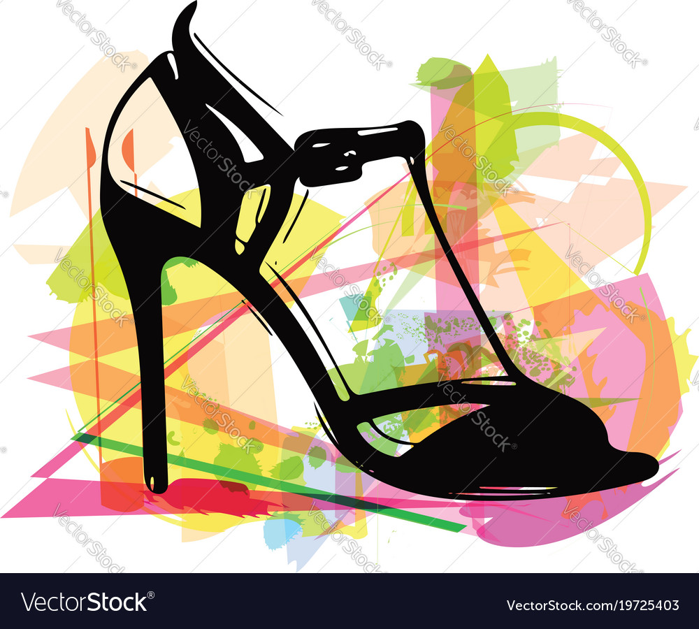 eb901e8a57a Abstract drawing of high heel female shoes Vector Image