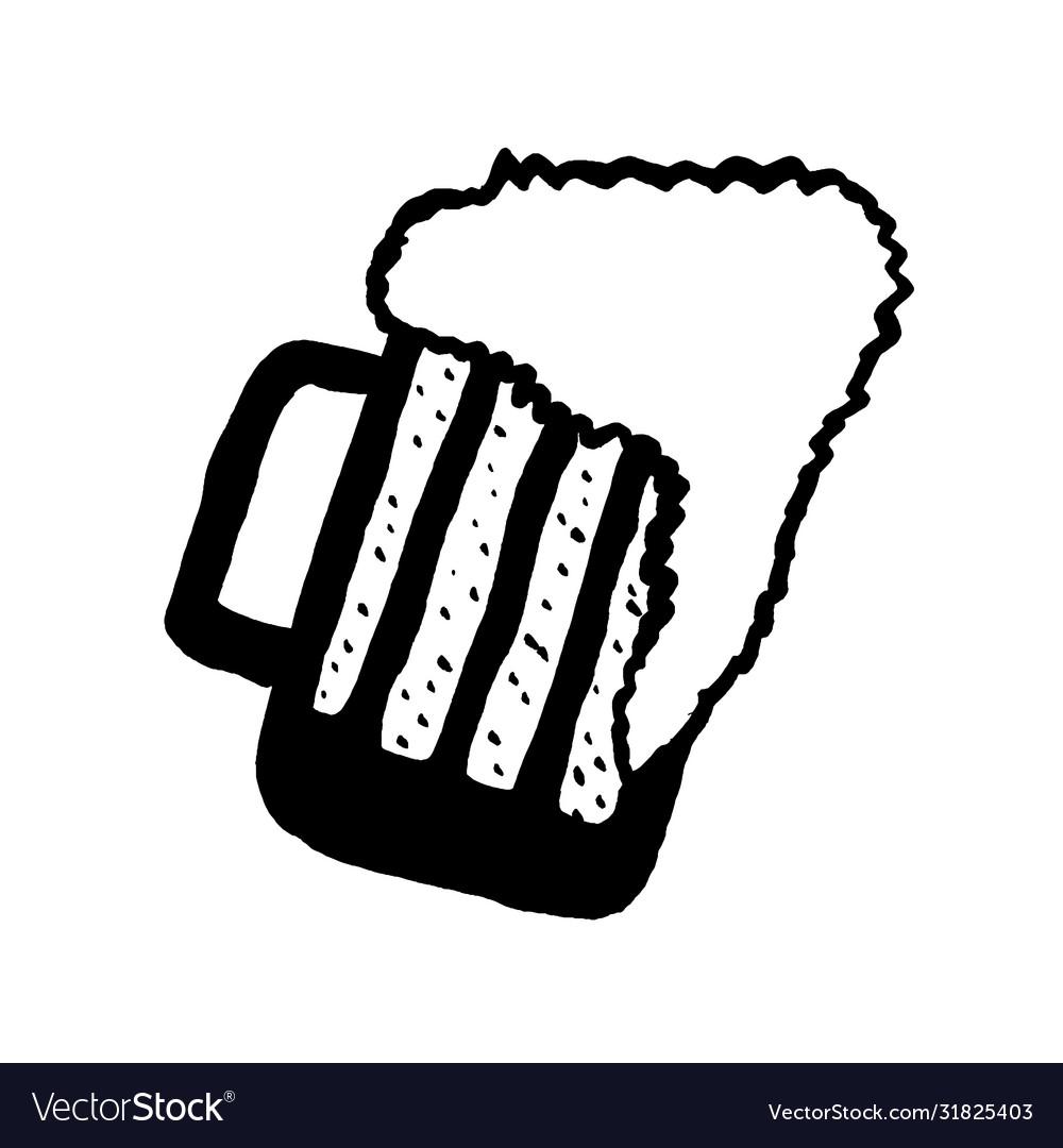 Colorful Hand Drawn Sketch Beer Mug Doodle Vector Image