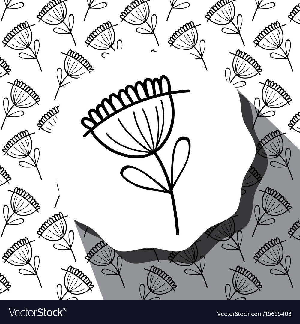 Emblem with flower with leaves and rustic