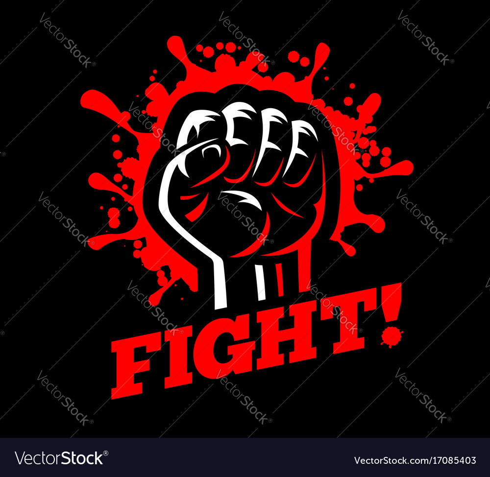 Fight clenched raised fist hand gesture blood vector image