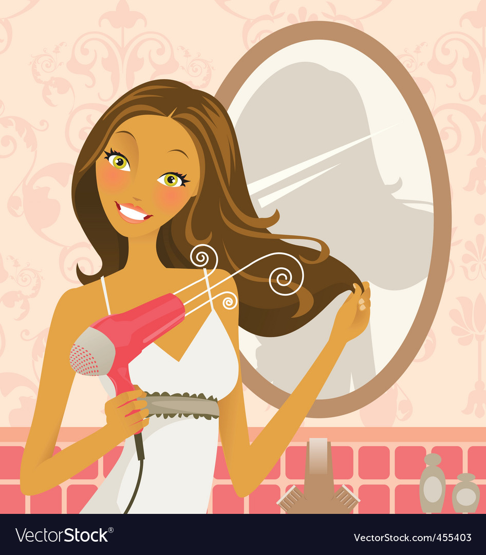 Hairdryer woman vector
