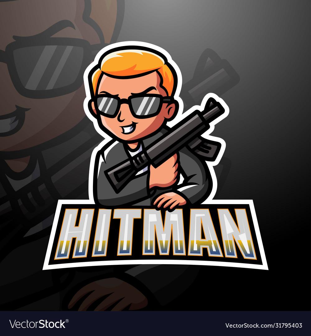 Mafia Hitman Mascot Esport Logo Design Royalty Free Vector