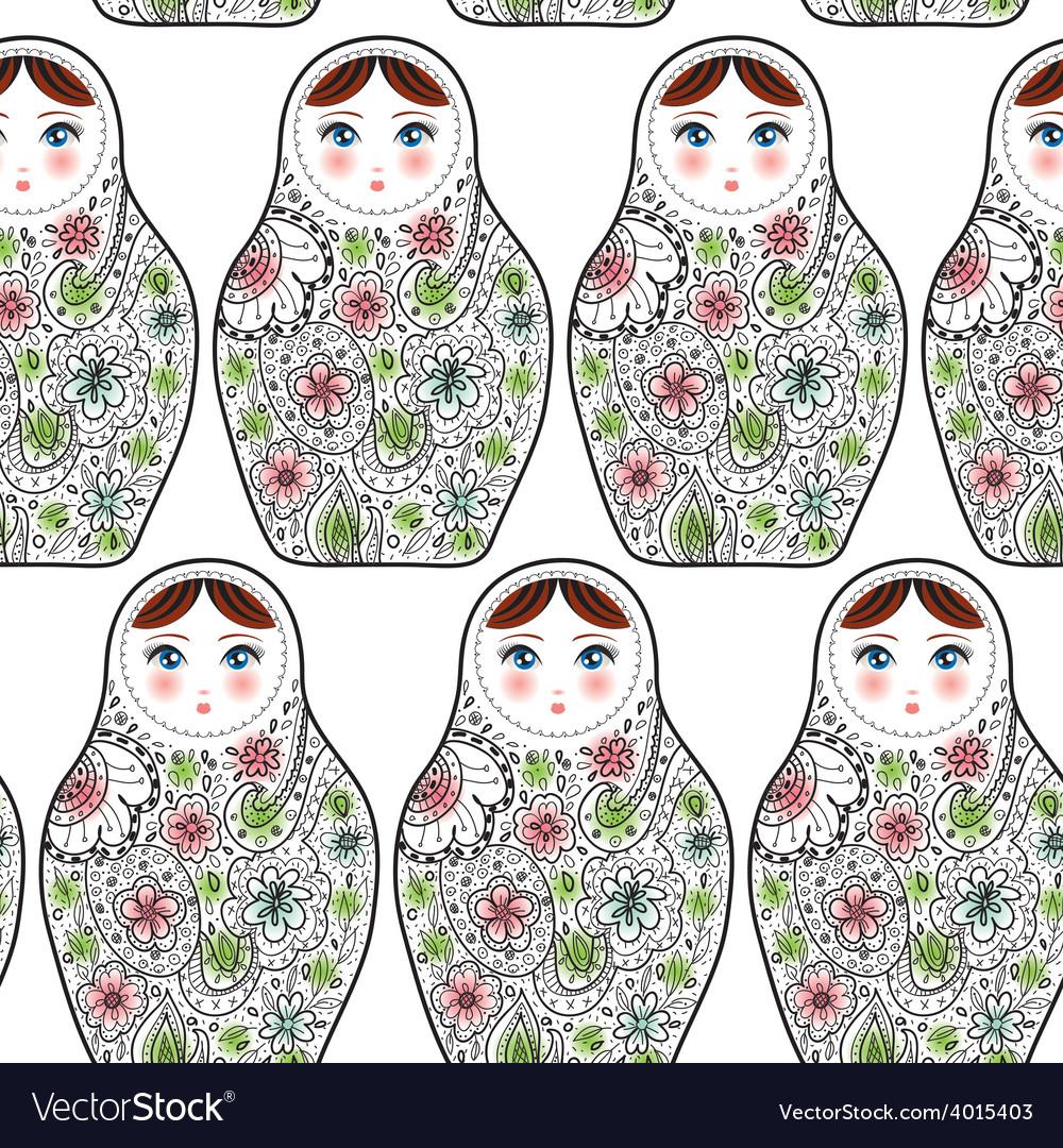 Pattern with the Russian dolls matrioshka Babushka