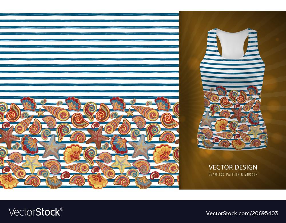 Seamless pattern of seashells on striped