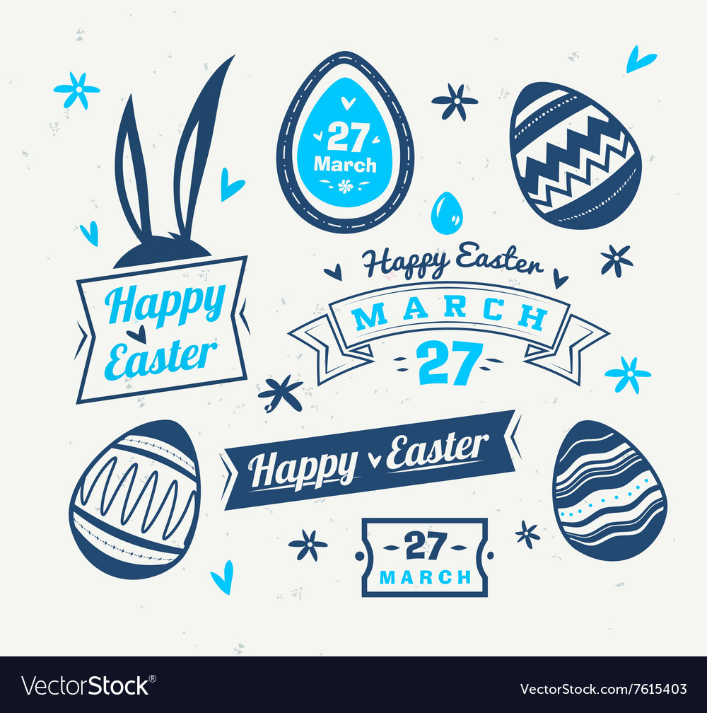 Set easter logos and labels cute