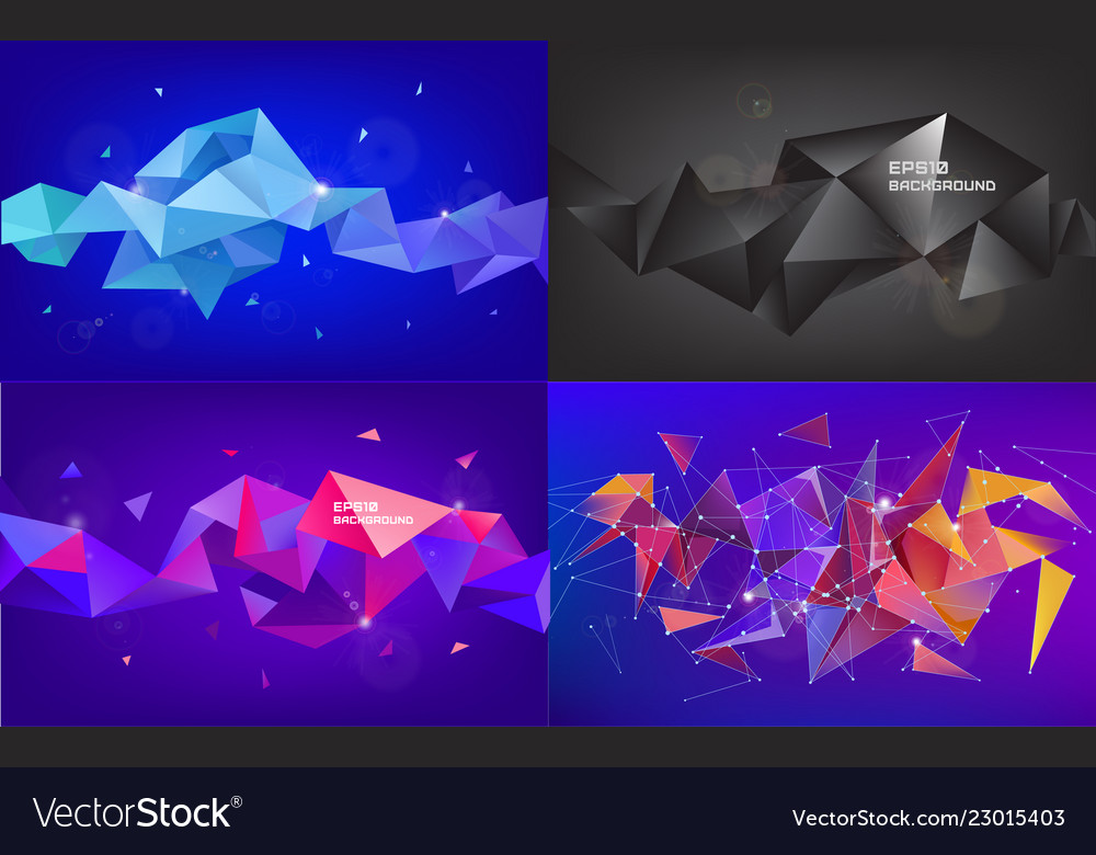 Set of abstract geometric 3d facet shapes