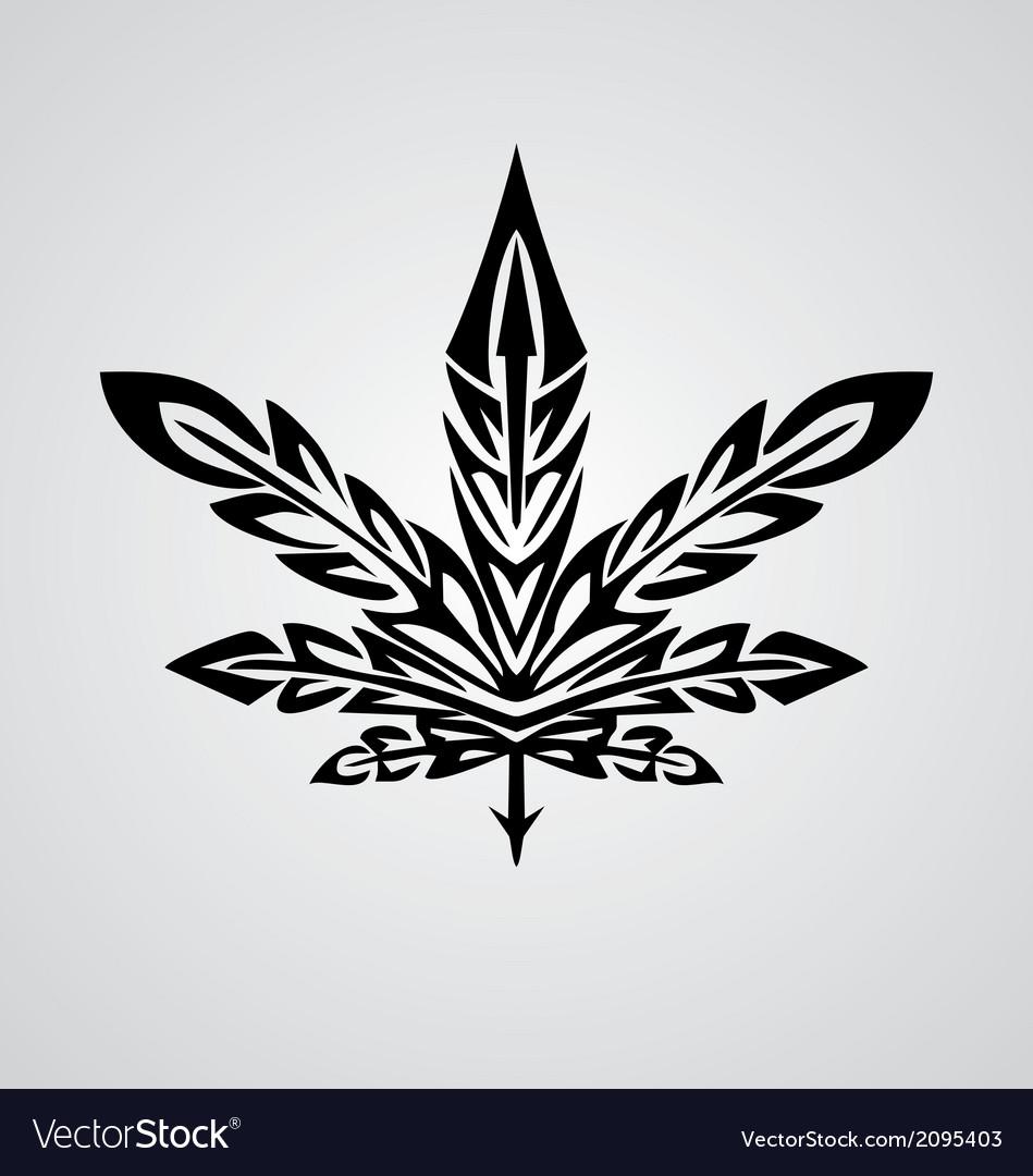 Tribal Marijuana Leaf