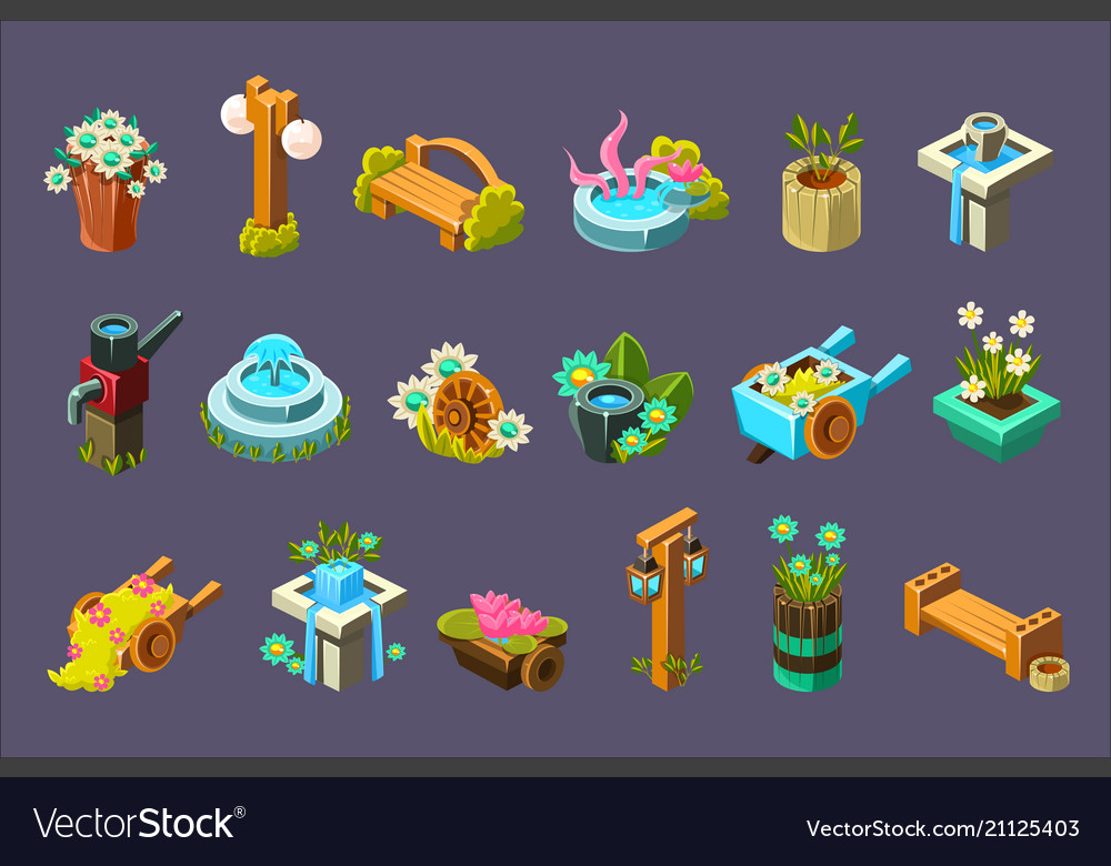 Video Game Garden Design Collection Of Elements Vector Image Simple Garden Design Games Collection