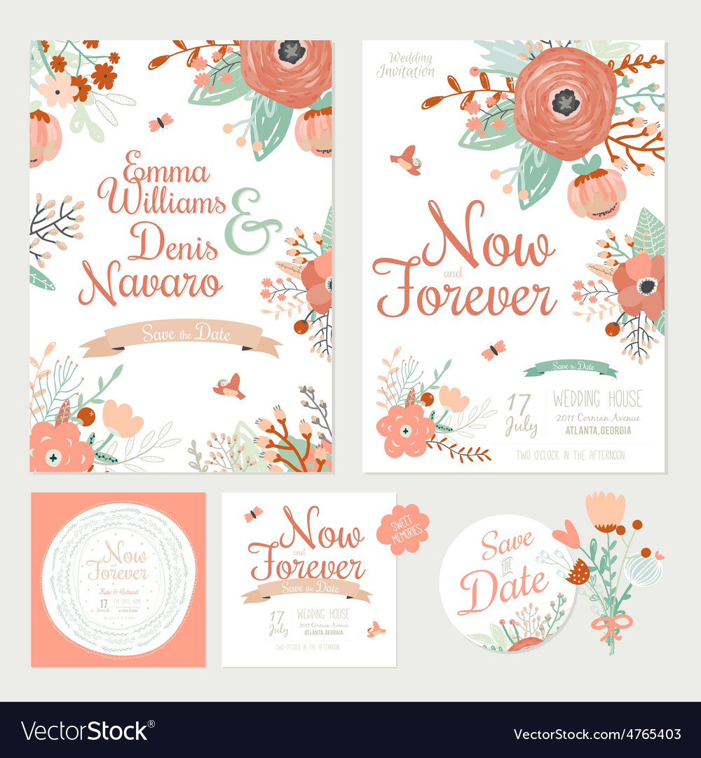 Vintage romantic floral Save the Date invitation