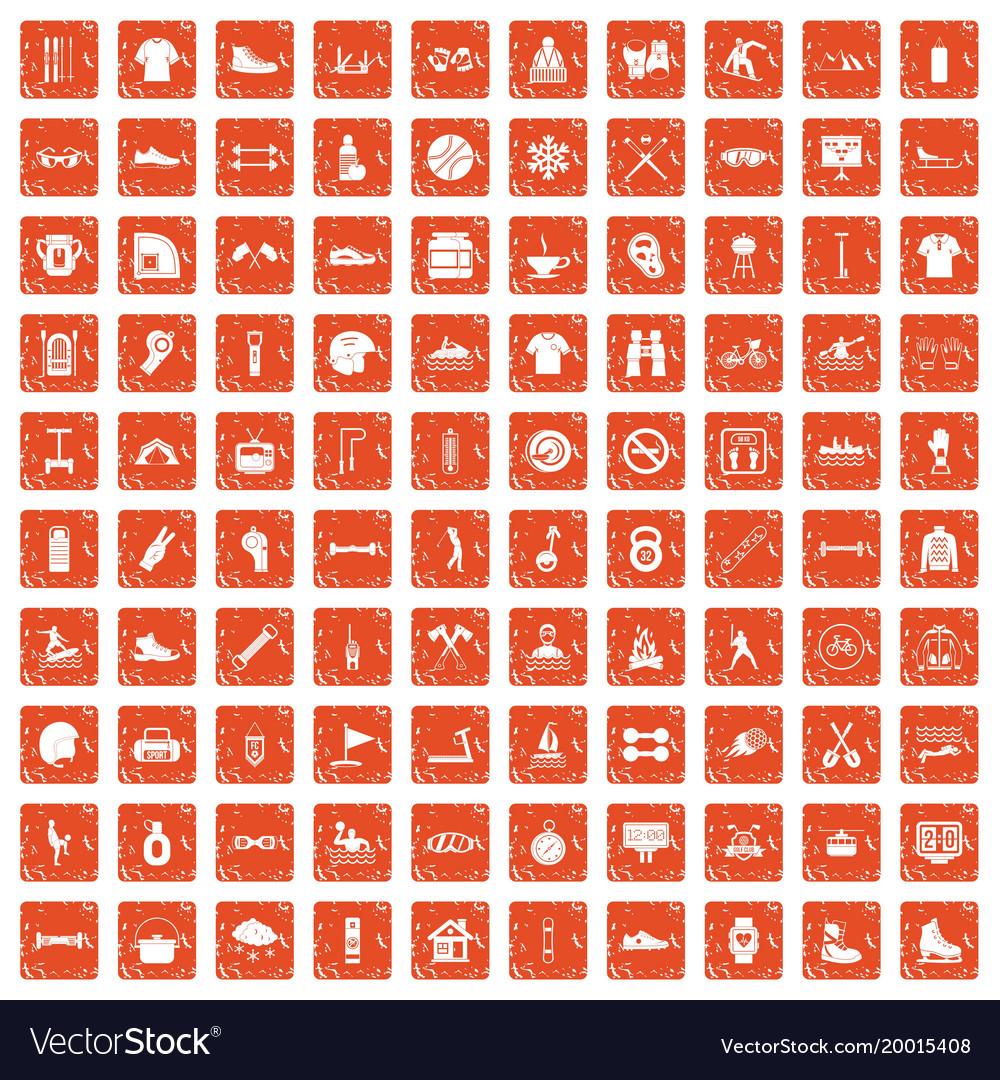 100 sport life icons set grunge orange