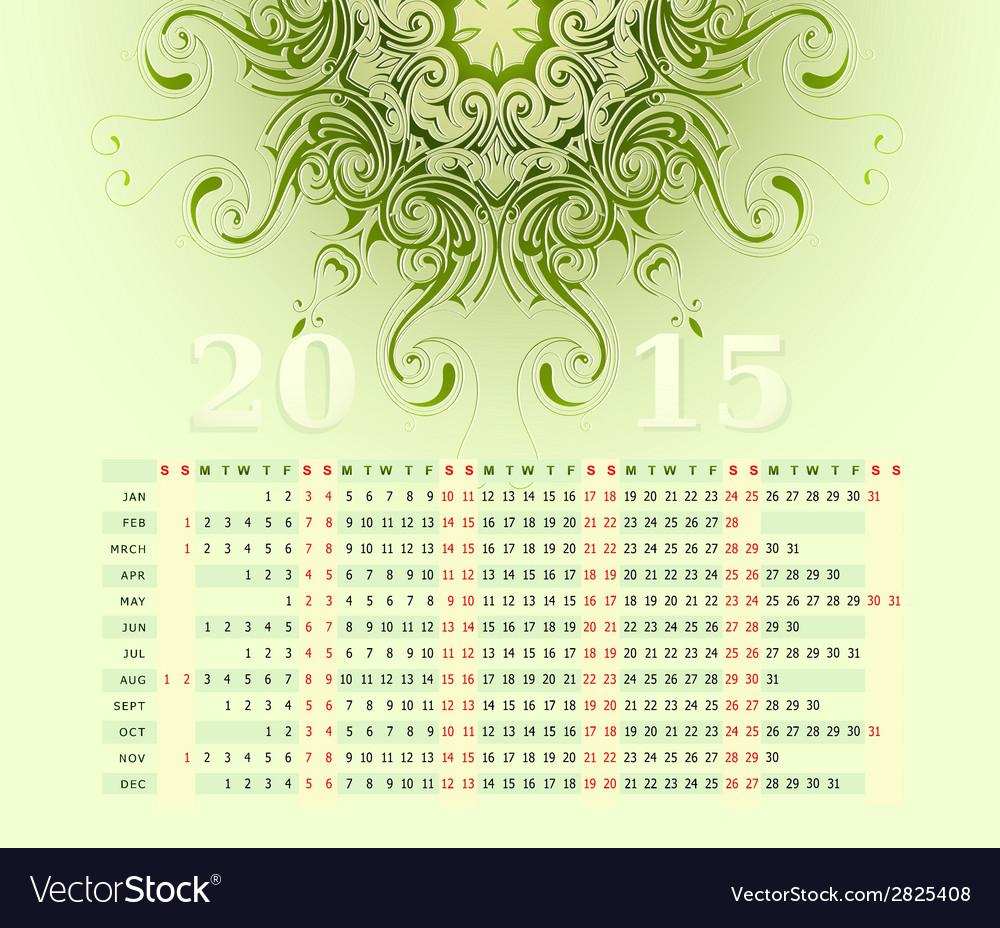 2015 calendar horizontal row vector image