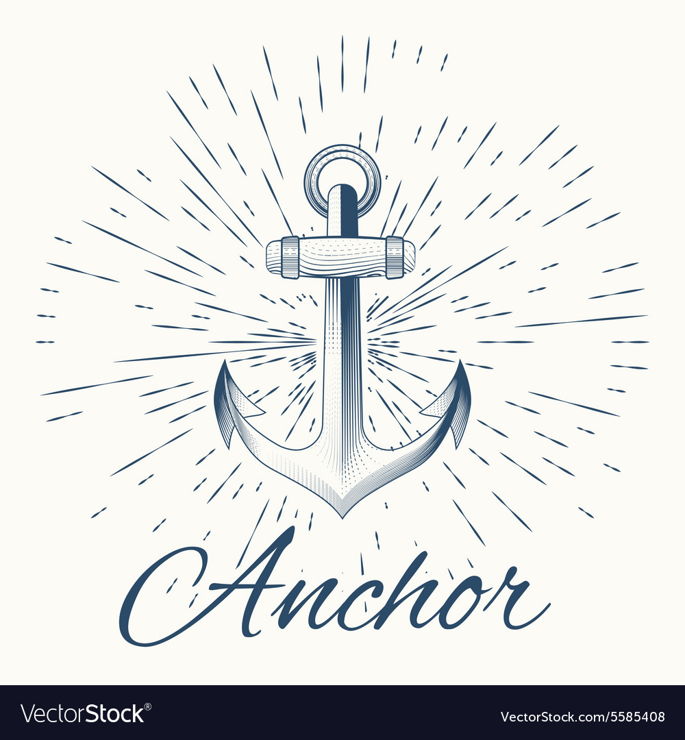 Anchor and vintage sun burst frame