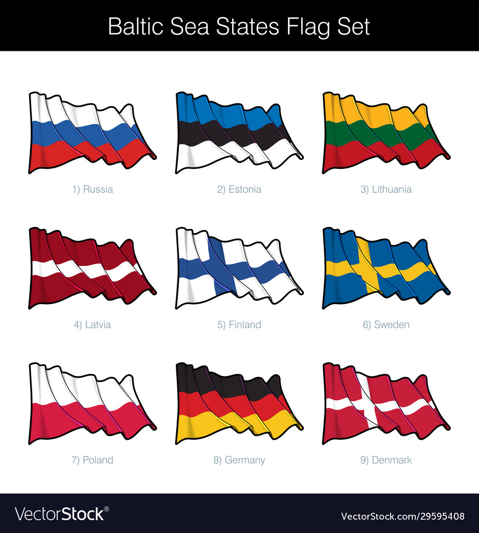 Baltic sea states waving flag set