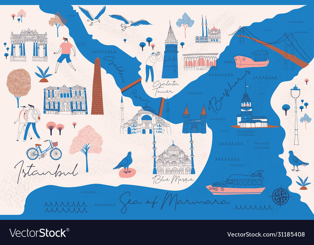 Cartoon map istanbul with legend icons