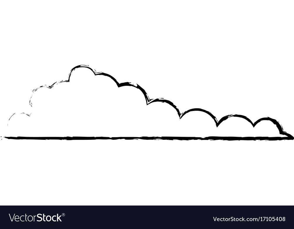 Cloud monochrome blurred in white background vector image