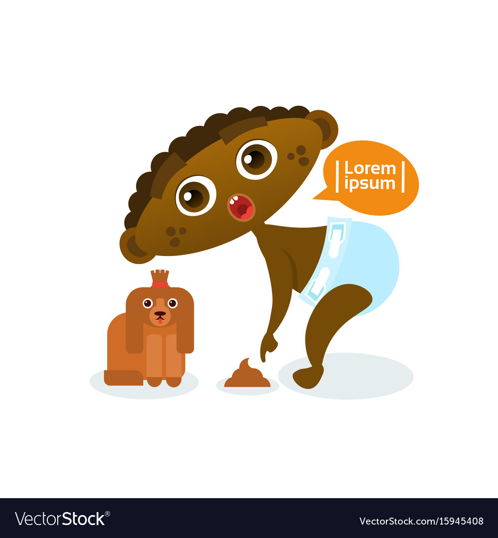 Cute african american baby boy playing with dog vector image