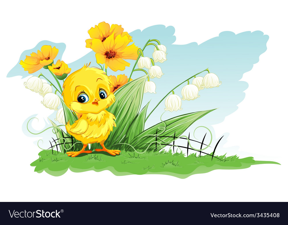 Cute chicken on a background of yellow flowers and cute chicken on a background of yellow flowers and vector image mightylinksfo