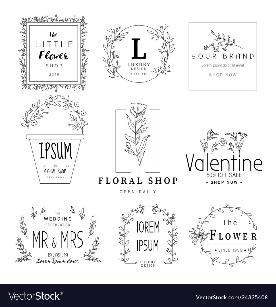Floral frame set for wedding flower shop