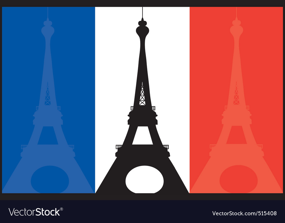 French flag and eiffel vector image