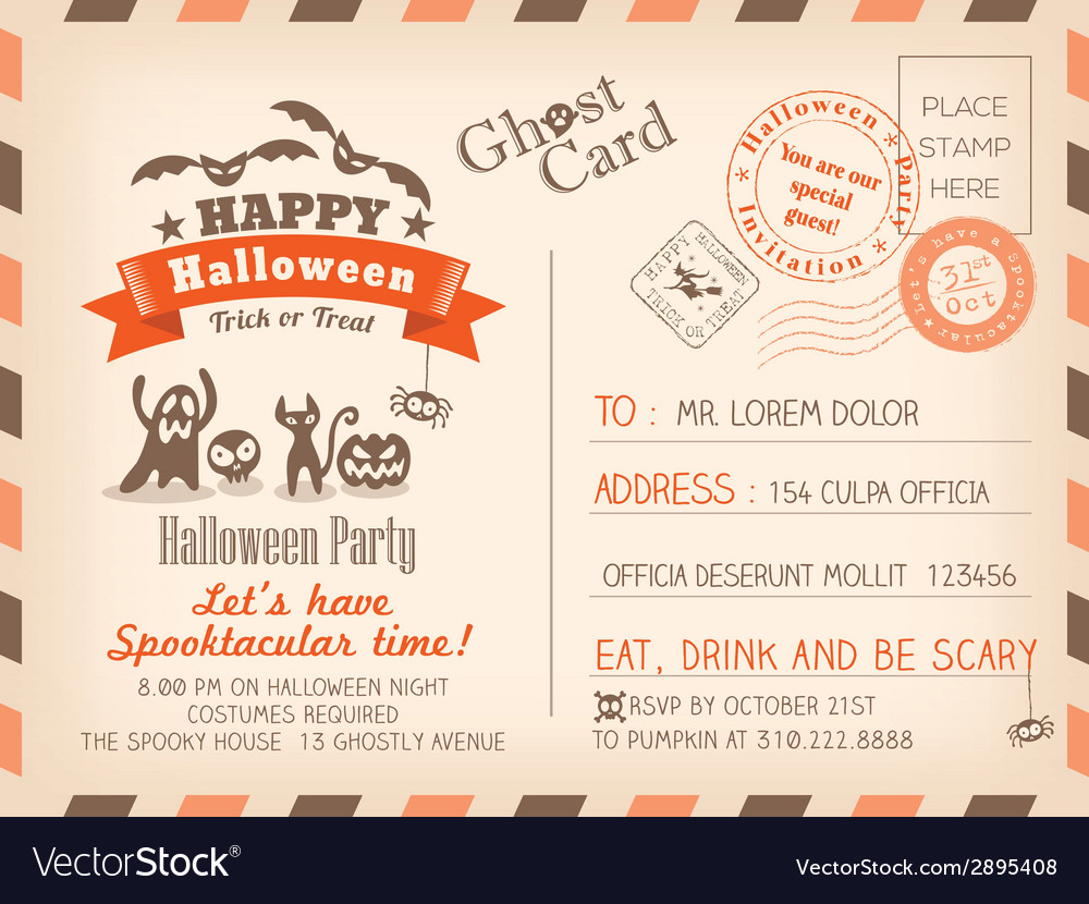 Happy Halloween Vintage Postcard background vector image