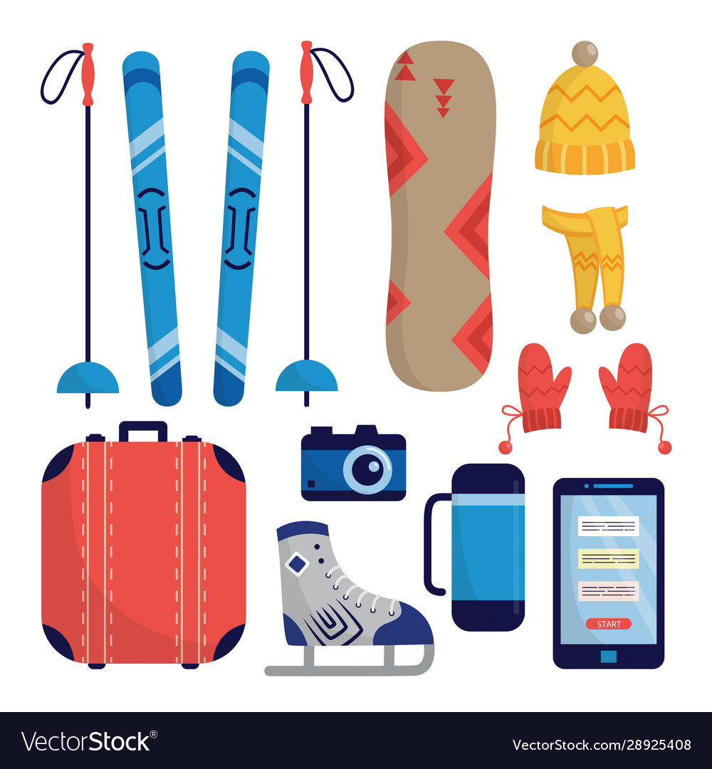 Set winter sports and traveling equipment flat