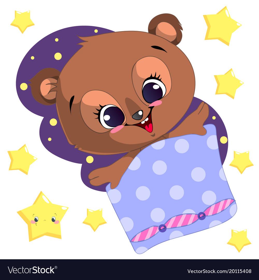 Sleeping cartoon bear clipart with moon and