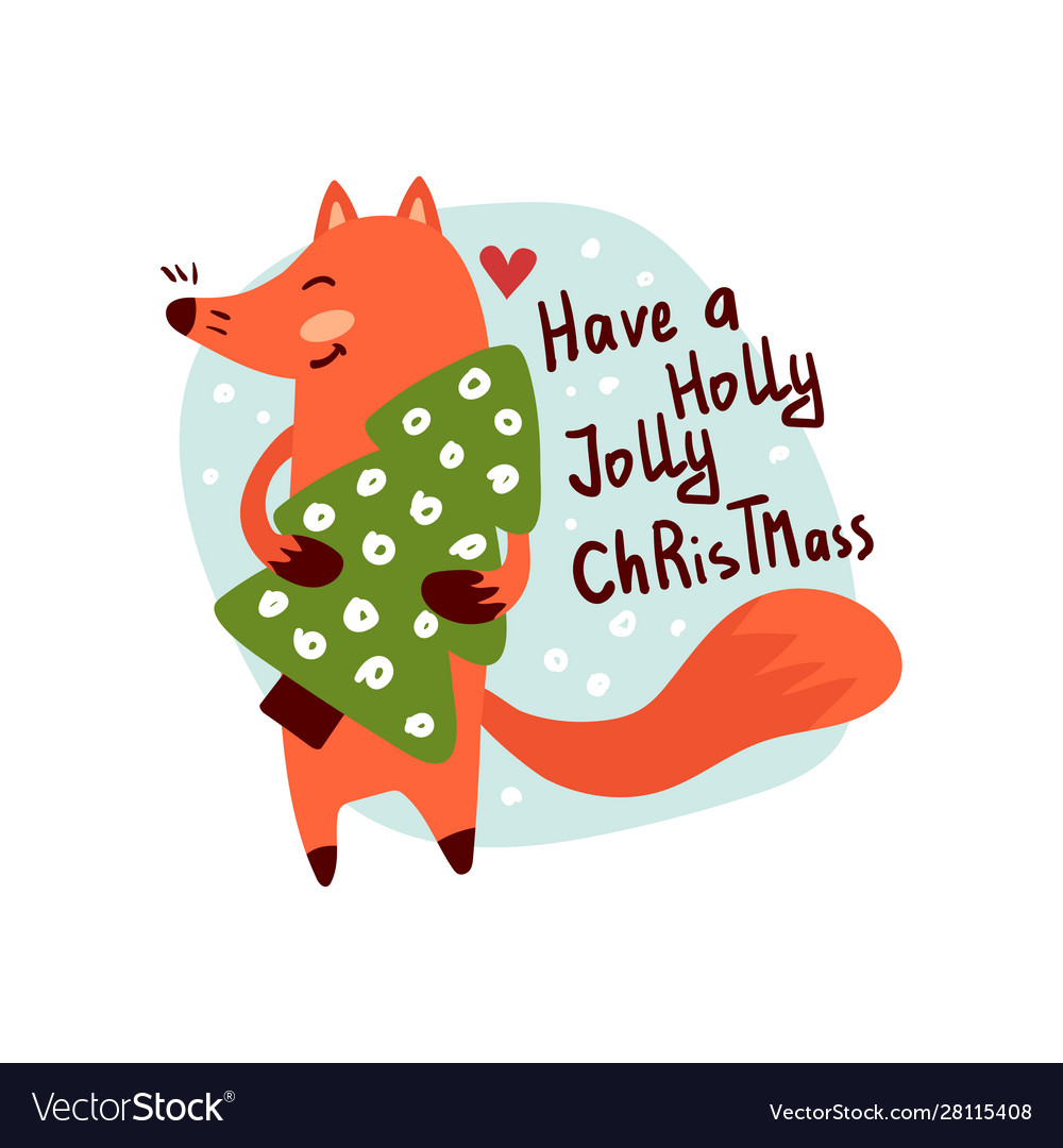 Smiling fox character holding fir tree