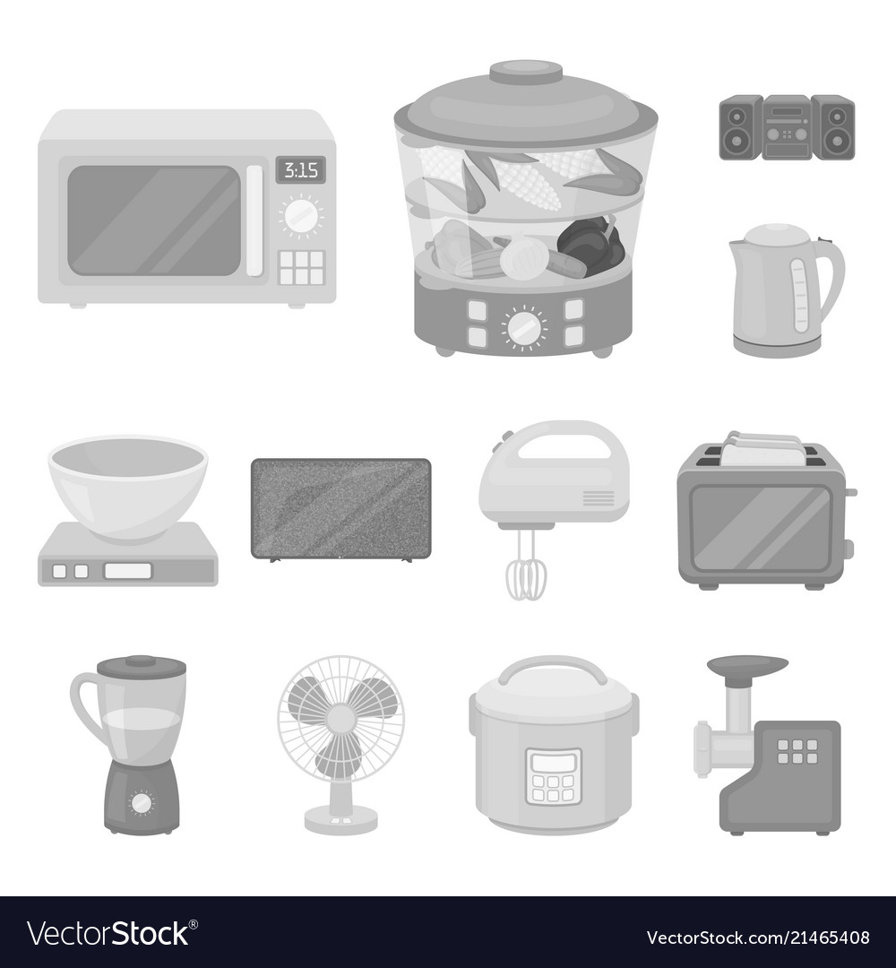 Types of household appliances monochrome icons in Vector Image