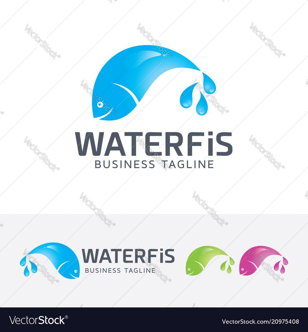 Water fish logo design vector image